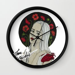 Broken Heart on Black Wall Clock