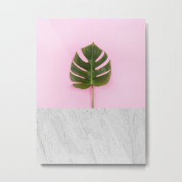 Tropical leaf and marble Metal Print