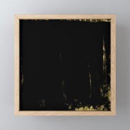 Black and Gold grunge modern abstract background I Framed Mini Art Print