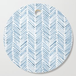 Baby blue watercolor herringbone  Cutting Board