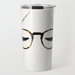 Tortoiseshell Glasses Brunette Travel Mug
