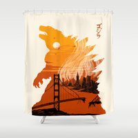 godzilla Shower Curtains featuring Godzilla  by tim weakland