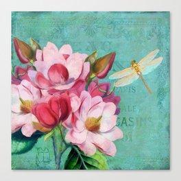 Verdigris Pink Magnolias Canvas Print