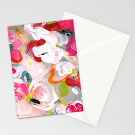 Dream flowers in pink rose floral abstract art Stationery Cards