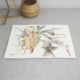 Sea shell Nature Illustration Black Goldfish Orchids Rug