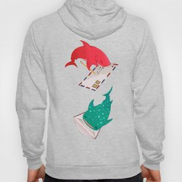 Teal Whale Shark and Shark Hoody