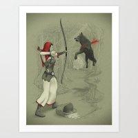 robin hood Art Prints featuring Little Red Robin Hood by Santo76