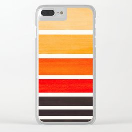 Orange Minimalist Mid Century Modern Color Fields Ombre Watercolor Staggered Squares Clear iPhone Case