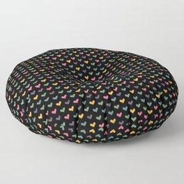 Small hearts on black Floor Pillow