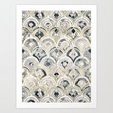 Monochrome Art Deco Marble Tiles Art Print