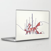 foxes Laptop & iPad Skins featuring Foxes by Ale Giorgini