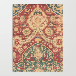Peonies Kashan I // 16th Century Distressed Colorful Red Tan Light Blue Ornate Accent Rug Pattern Poster