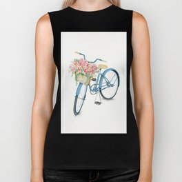 Blue Bicycle with Flowers in Basket Biker Tank