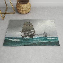 Vintage Sailing in Rough Waters Painting (1876) Rug