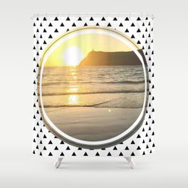 Port Erin - small triangle graphic Shower Curtain