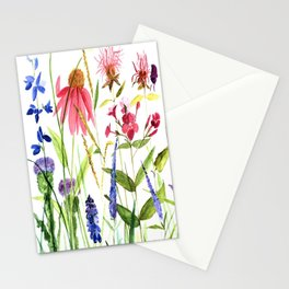 Botanical Colorful Flower Wildflower Watercolor Illustration Stationery Cards