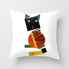 Black Square Cat - Suprematism Throw Pillow