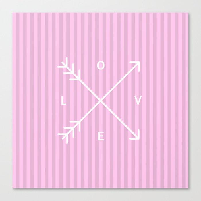Pink Stripes Love Valentine's Day (Valentine Gift) Canvas Print