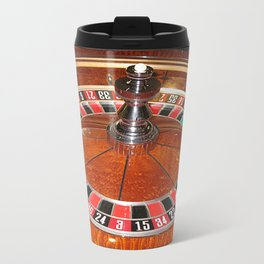 Wooden Roulette wheel casino gaming Metal Travel Mug