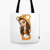 onesie Tote Bags featuring Bear Onesie by Milou Baars