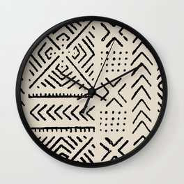 Line Mud Cloth // Bone Wall Clock