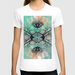 autumn tree-vessel pattern T-shirt