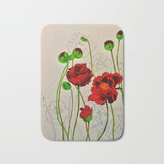Very Red Flowers Bath Mat