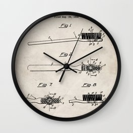 Toothbrush Patent - Bathroom Art - Antique Wall Clock