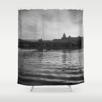 moscow Shower Curtains featuring Moscow river by MagicKucher
