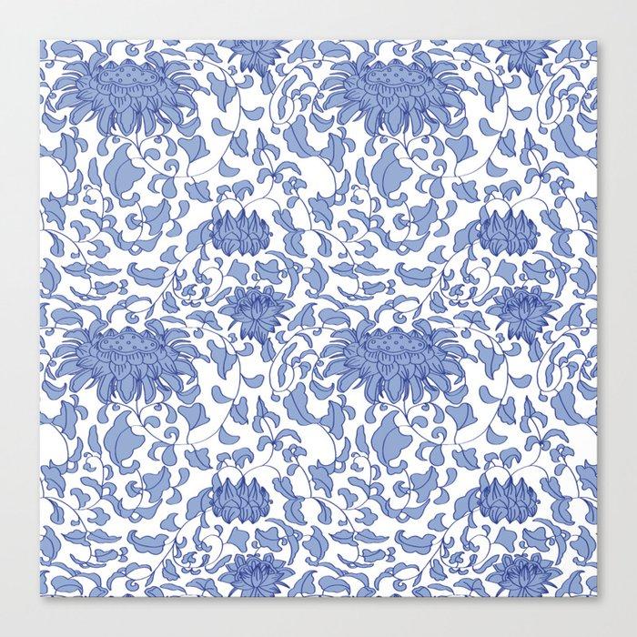 Chinoiserie Vines in Delft Blue + White Leinwanddruck