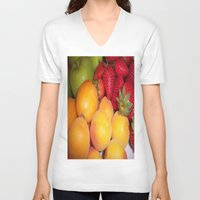 fruits V-neck T-shirts featuring Fruits by EnelBosqueEncantado