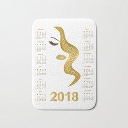 Women with gold glittery makeup 2018 calendar illustration Bath Mat