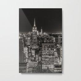 New York Skyline Night Sky Metal Print