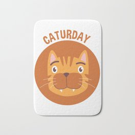Caturday Tabby Cat Portrait Bath Mat