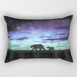 Aurora borealis and polar bears (black version) Rectangular Pillow