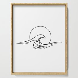Waves Minimal art Serving Tray