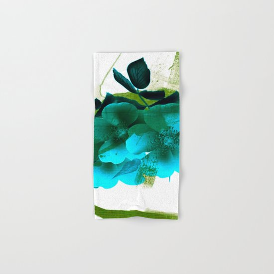 blue flowers and green abstract Hand & Bath Towel