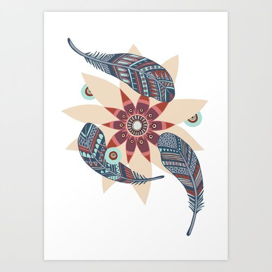 Flower and feathers Art Print