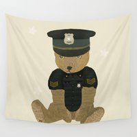 police Wall Tapestries featuring police ted  by bri.buckley