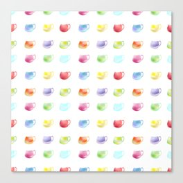 Watercolor pattern of cups Canvas Print