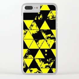 Splatter Triangles In Black And Yellow Clear iPhone Case