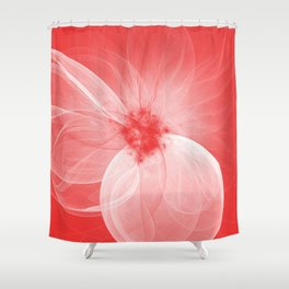 Red Fairy Blossom Fractal Shower Curtain