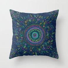 Midnight Garden Mandala Throw Pillow