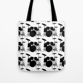 Drumset Pattern (Black on White) Tote Bag