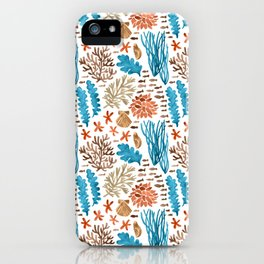 Coral Reef Watercolor Pattern- Teal iPhone Case