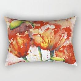 Lush Orange Spring Poppies Rectangular Pillow