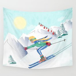Skiing Girl Wall Tapestry