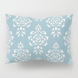 Crest Damask Repeat Pattern Cream on Blue Pillow Sham