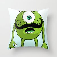 mike wrobel Throw Pillows featuring Mike by Satanoncrack