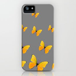 YELLOW BUTTERFLIES CHARCOAL GREY ART iPhone Case
